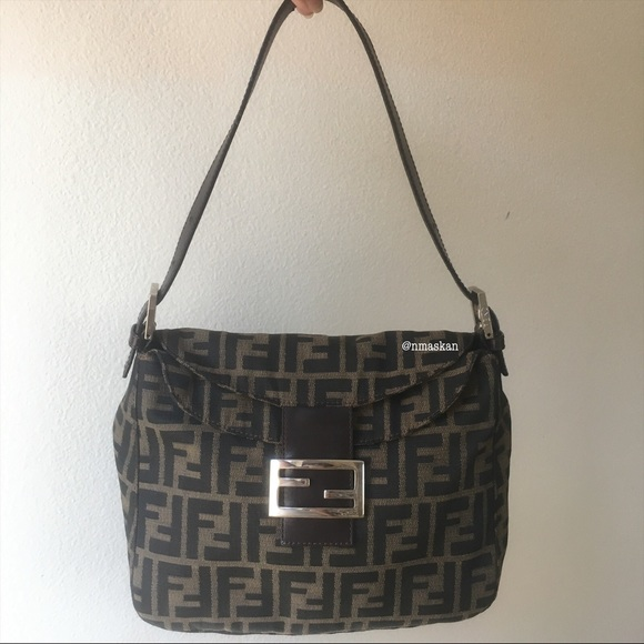 Fendi Handbags - Authentic Fendi Zucca Double Flap Baguette